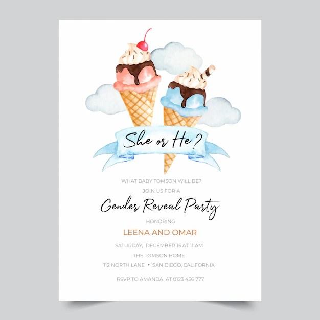 free vector ice cream birthday invitation