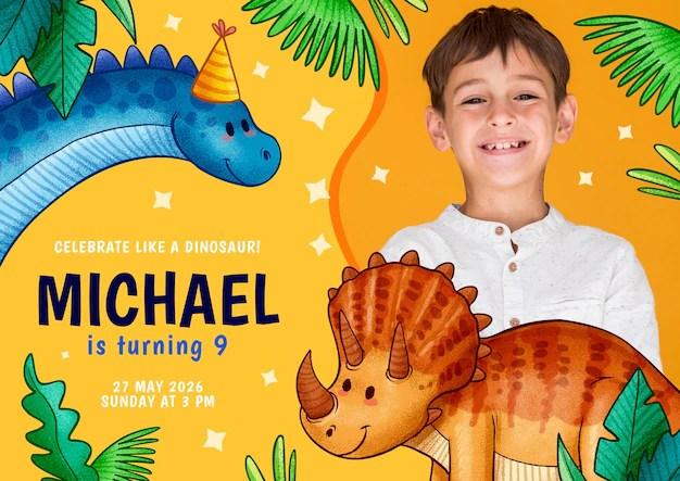 Free Vector Children S Birthday Invitation Template With Dinosaur