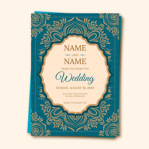 indian wedding invitation with