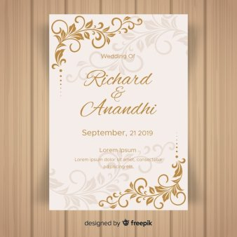 Leaf Ornaments Wedding Invitation Template