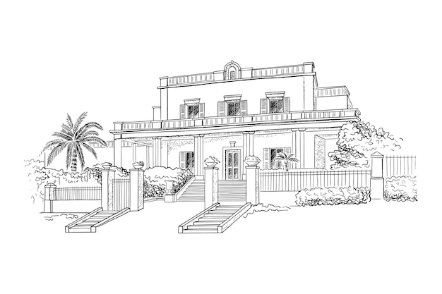 Premium Vector Mansion Villa Country Estate Historic Building With Trees And Bushes In Front Of The House