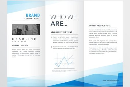 Trifold Brochure Vectors  Photos and PSD files   Free Download Minimal blue trifold brochure layout background