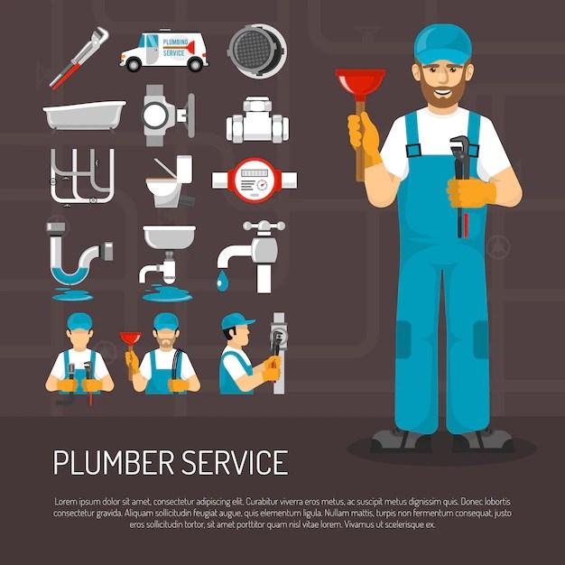 Plumbing service decorative icons set
