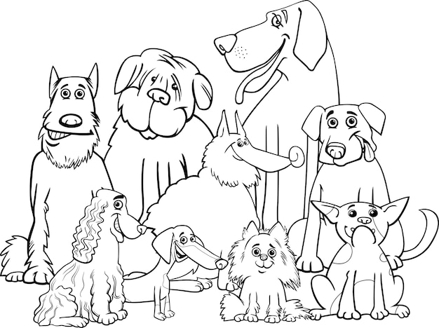 Premium Vector Purebred Dogs Coloring Page