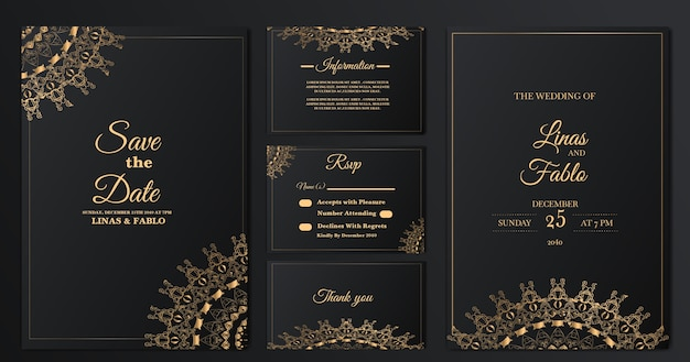 golden wedding invitation template
