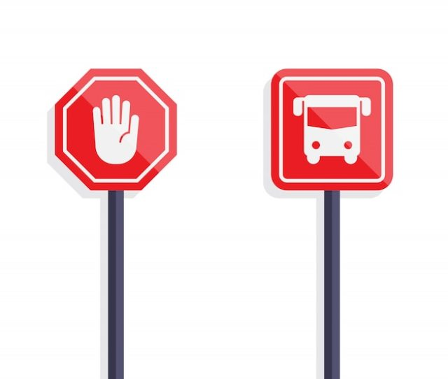 Stop Sign And Bus Sign Flat Design