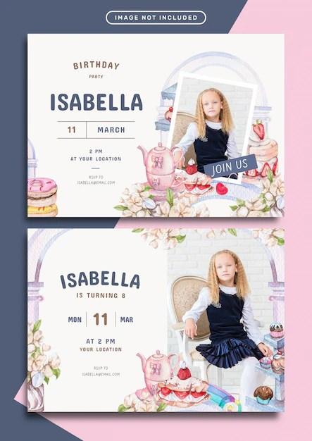 donut theme birthday party invitation