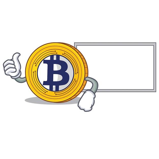 Premium Vector | Thumbs up with board bitcoin gold character cartoon