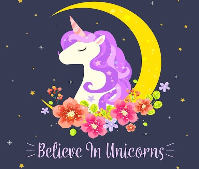 Unicorn Background With Moon And Floral Decoration