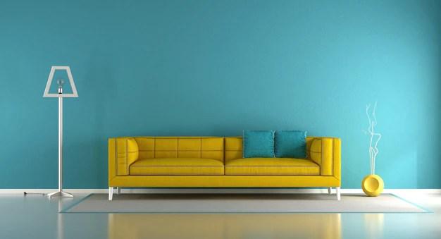 salon bleu et jaune photo premium