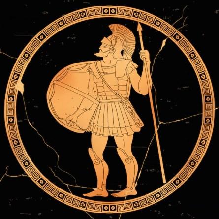 Guerrier Grec Antique Avec Une Lance Et Un Bouclier Dans Ses Mains Est Prêt  à Attaquer.   Vecteur Premium