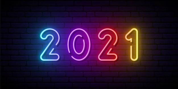 Placa de néon 2021. | Vetor Premium