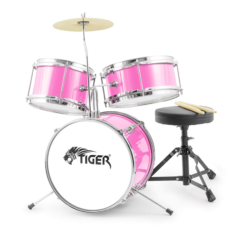 tiger junior kids drum kit 3 piece beginners drum set with stool