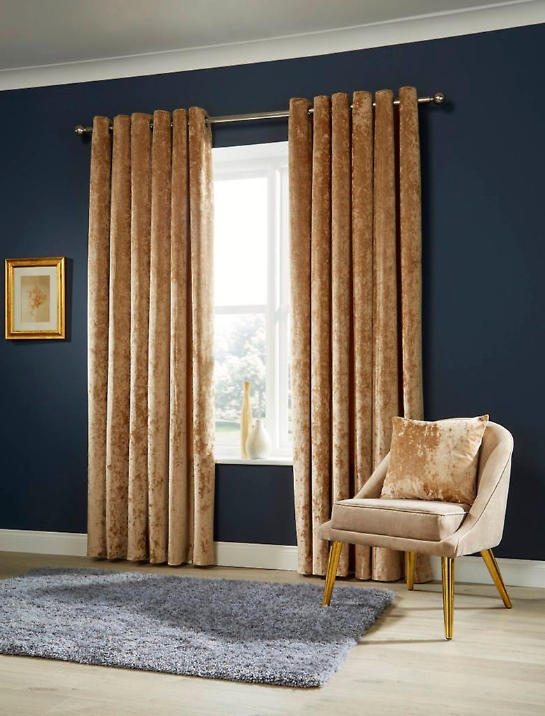 Crushed Velvet Fancy Pair Of Fully Lined Ring Top Eyelet Luxury Curtains
