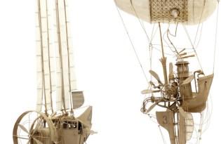 [極致工藝]紙雕復古飛行器模型