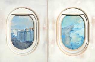 [平面設計]飛機窗水彩畫藝術