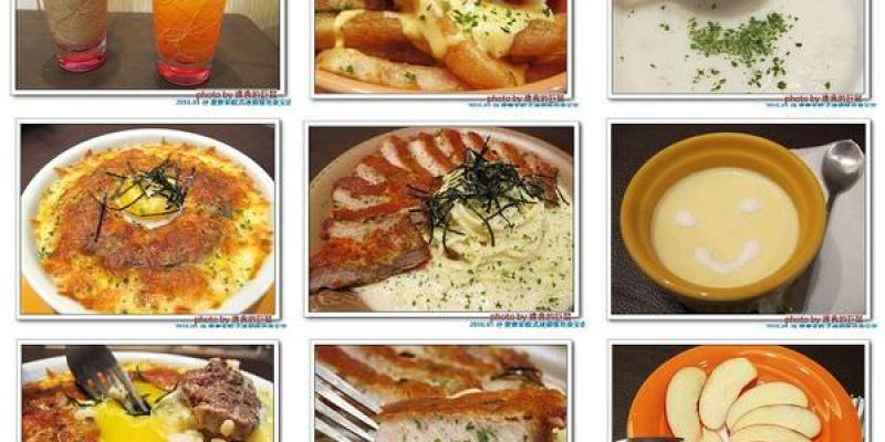 (台南。東區美食)提摩希歐式連鎖餐坊東安店 / 可愛熊熊玩偶餐廳。提供平價健康低油的美味餐點。『奶濃畢卡達豬排義大利麵』豬排香酥不油膩,口感獨特略帶甜味。