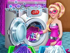 لعبة باربي وغسيل الملابس جيدا