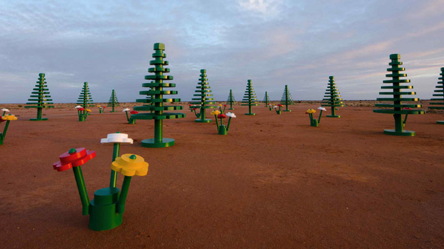 Desert Town Wakes Up to Find Giant Lego Garden Grown Overnight