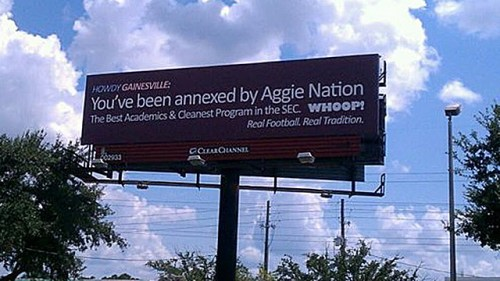 college football - Texas A & M Erects Billboard In Gainesville Declaring Itself
