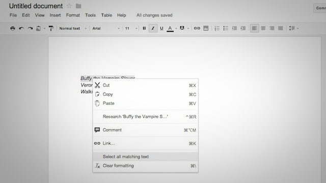 google docs - Instantly Select Text with Similar Formatting in Google Docs