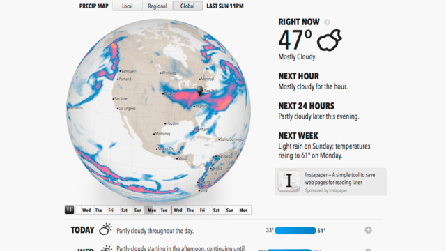 Click here to read Forecast.io Delivers a Useful Animated Weather Report for Your Location, All On One Page