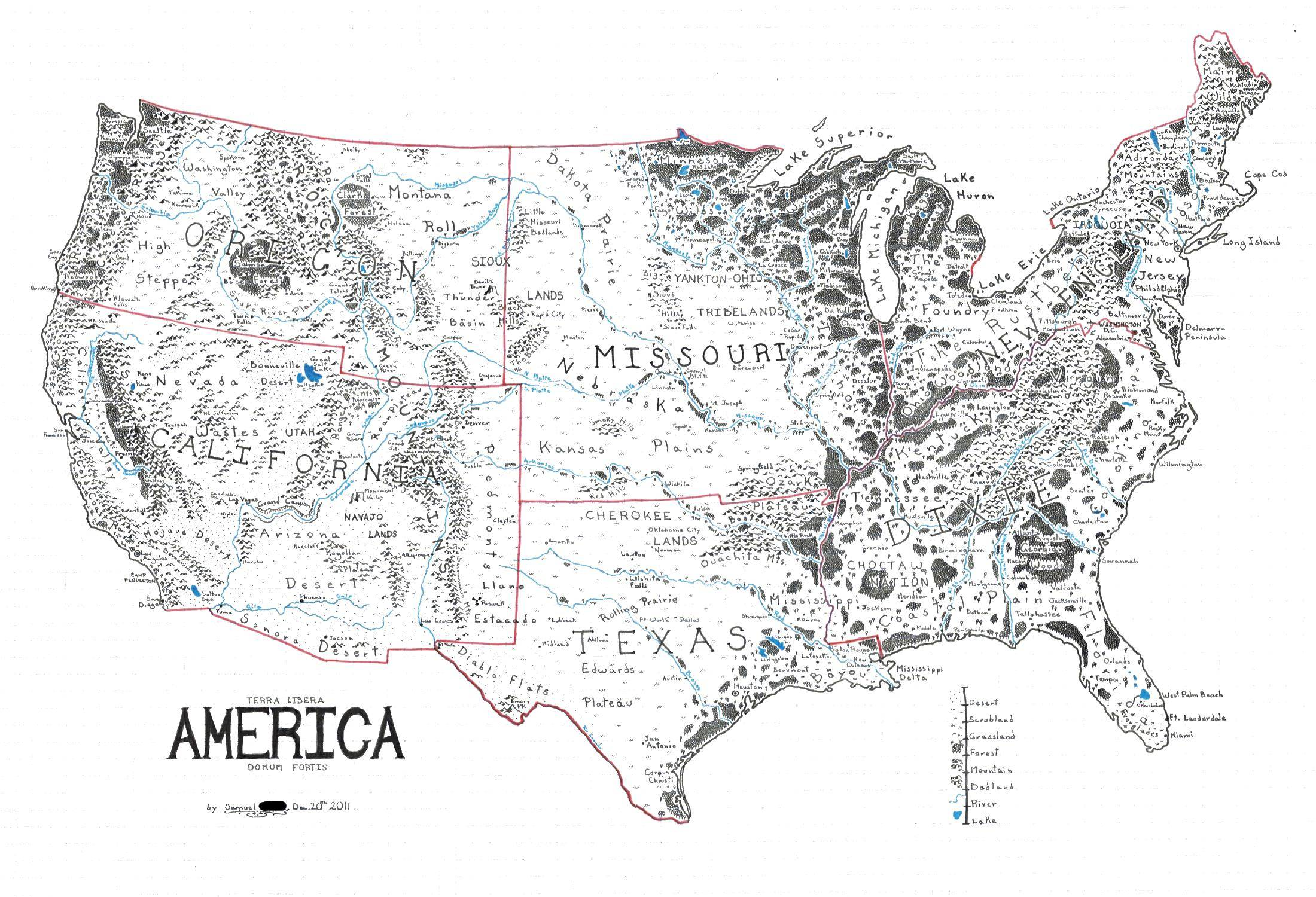 A Map Of The United States Drawn In The Style Of Lord Of