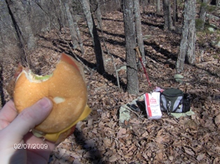 A tasty cheeseburger on the Rocky Face Mountain summit