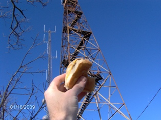 A shot of the disappearing cheeseburger at the fire tower on the summit.