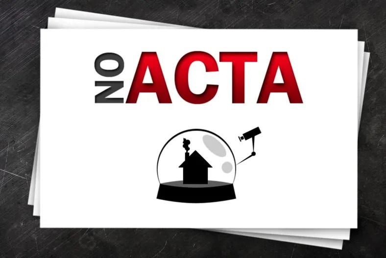Mange har laget anti-ACTA-filmer og bilder for å spre bevissthet om loven. Denne illustrasjonen kommer fra Deviant Art-brukeren Paul Design.