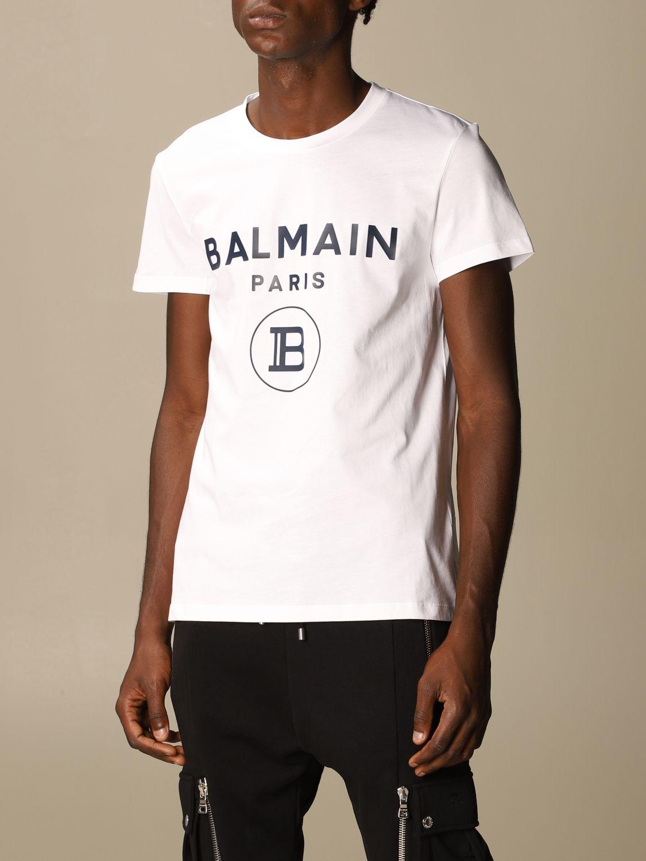 Balmain Cotton T Shirt With Logo T Shirt Balmain Men White T Shirt Balmain Uh11601i371 Giglio En