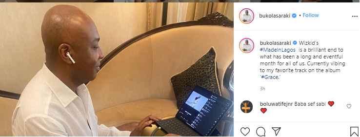 Bukola Saraki Gives A Thumb up to Wizkid's New Album 'Made in Lagos' 2