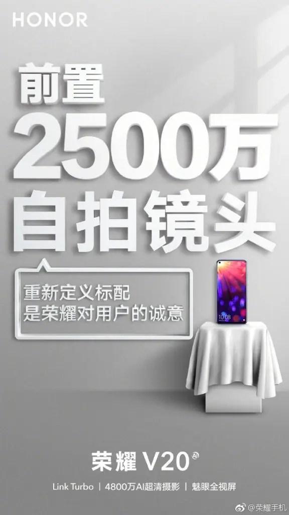 Honor V20 posters revelam que vai ter uma bateria enorme e uma câmara selfie impressionante 2