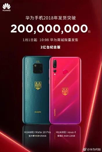 Huawei lança edições especiais Mate 20 e Nova 4 para celebrar o 200 milhões de smartphones em 2018 3