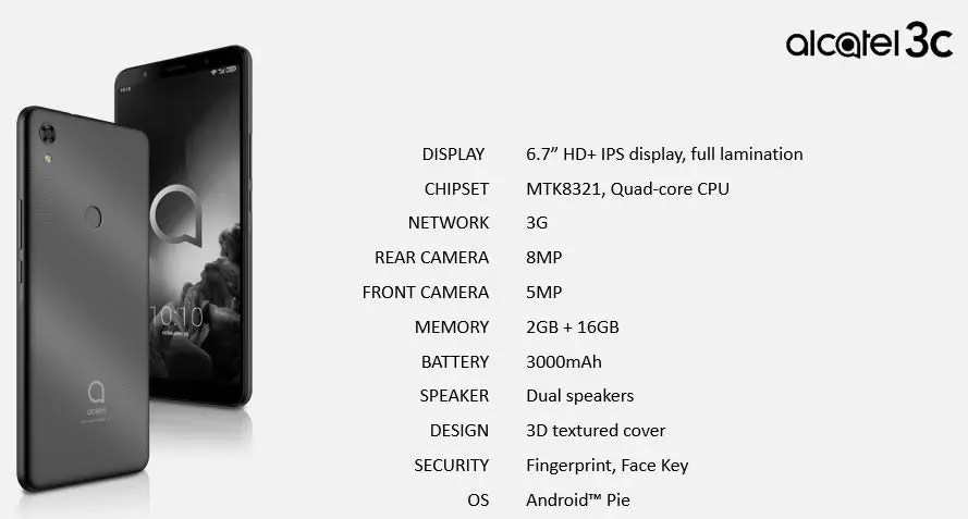 Linha de smartphones Alcatel 2019 revelada pelo suspeito do costume 7