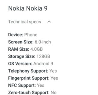 Nokia 9 specs