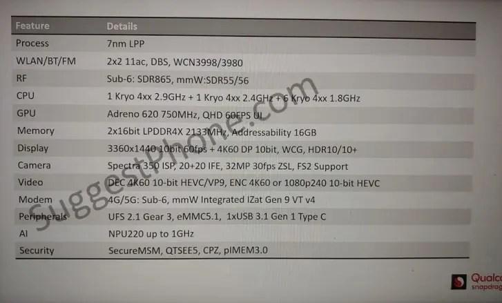 Snapdragon 735 revelado em documento oficial 2