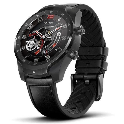 Ticwatch PRO Smartwatch Wear OS by Google 1.4 Inch OLED/LED Double Screens Google Pay IP68 Built-in GPS Mobvoi - Black