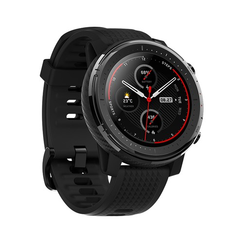 HUAMI AMAZFIT Stratos 3 Smart Sports Watch 1.34 Inch Full Moon Screen Dual-Mode 5ATM GPS Firstbeat Silicone Strap Global Version - Black
