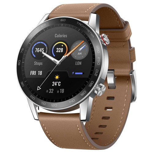 HUAWEI Honor MagicWatch 2 46mm Smart Watch 1.39 Inch Fitness Activity Tracker with Heart Rate and Stress Monitor 14 Days Standby 5ATM Water Resistant Global Version - Flax Brown