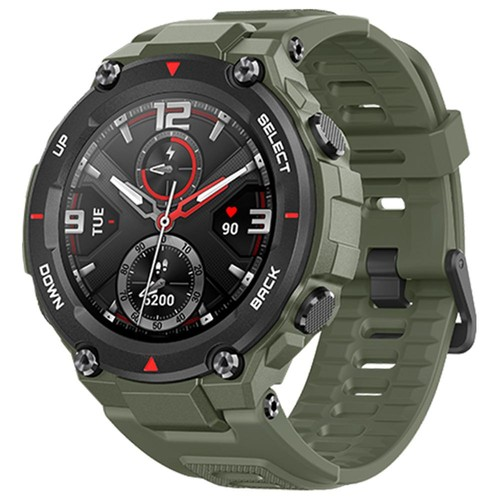Amazfit T-rex Smartwatch 1.3 Inch Round AMOLED Screen 14 Sports Modes 5ATM Water Resistant GPS Positioning - Army Green