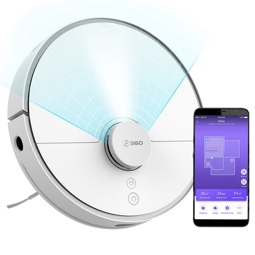 360 S5 Smart Robot Vacuum Cleaner 2000Pa Suction LDS Laser Navigation Sweeping Mopping Cleaning Japan Brushless Motor 65dB Low Noise APP Control 110min Runtime - White