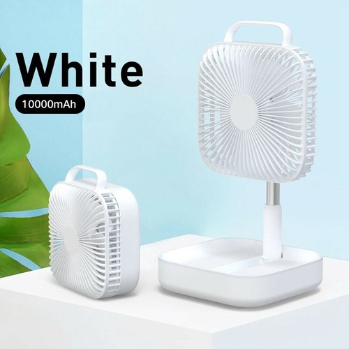Smart Portable Folding Fan Adjustable Angle Mute Shaking Head Four Modes 10000mAh Battery Removable Cleaning For Office Outdoor Summer Cooling - White