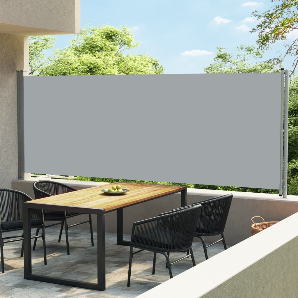 patio retractable side awning 600x170 cm grey
