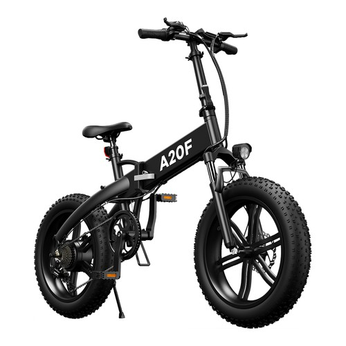ADO A20F Off-road Electric Folding Bike 20*4.0 inch 500W Brushless DC Motor SHIMANO 7-Speed Rear Derailleur 36V 10.4Ah Removable Battery 35km/h Max speed Pure power up to 50km Range Aluminum alloy Frame - Black