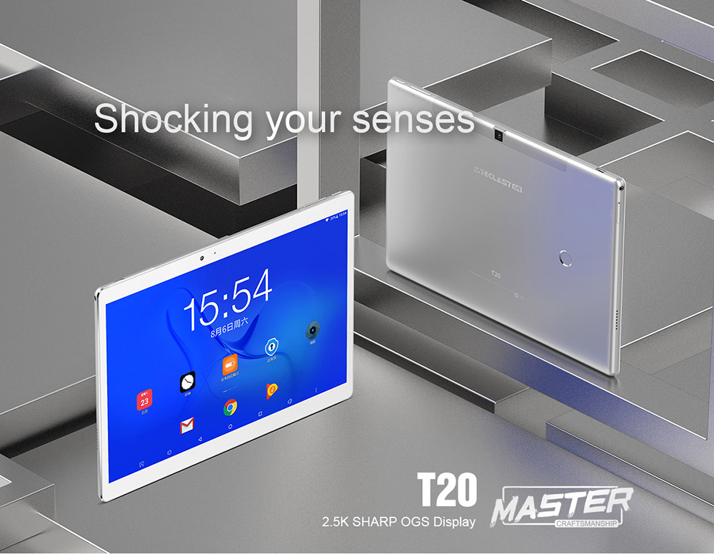 """Teclast T20 4G Phablet Helio X27 MT6797T Deca Core 10.1"""" IPS Screen 2560*1600 Android 7.0 4GB RAM 64GB ROM Touch ID Built-in GPS GLONASS Beidou - White Silver"""