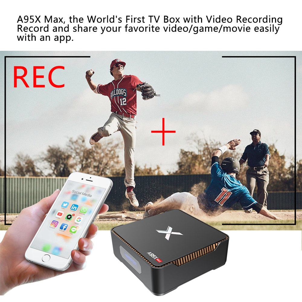 A95X MAX S905X2 Android 8.1 4GB DDR4 64GB eMMC 4K TV Box with LED Display Dual Band WiFi Bluetooth Gigabit LAN Support SATA HDD USB3.0*3