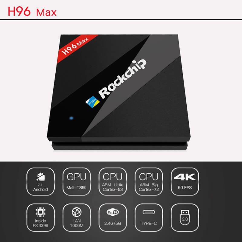 H96 MAX RK3399 Hexa Core 2.0Ghz 4K TV BOX Android 7.1 4GB/32GB Type-C USB3.0 AC WIFI 1000M LAN Bluetooth