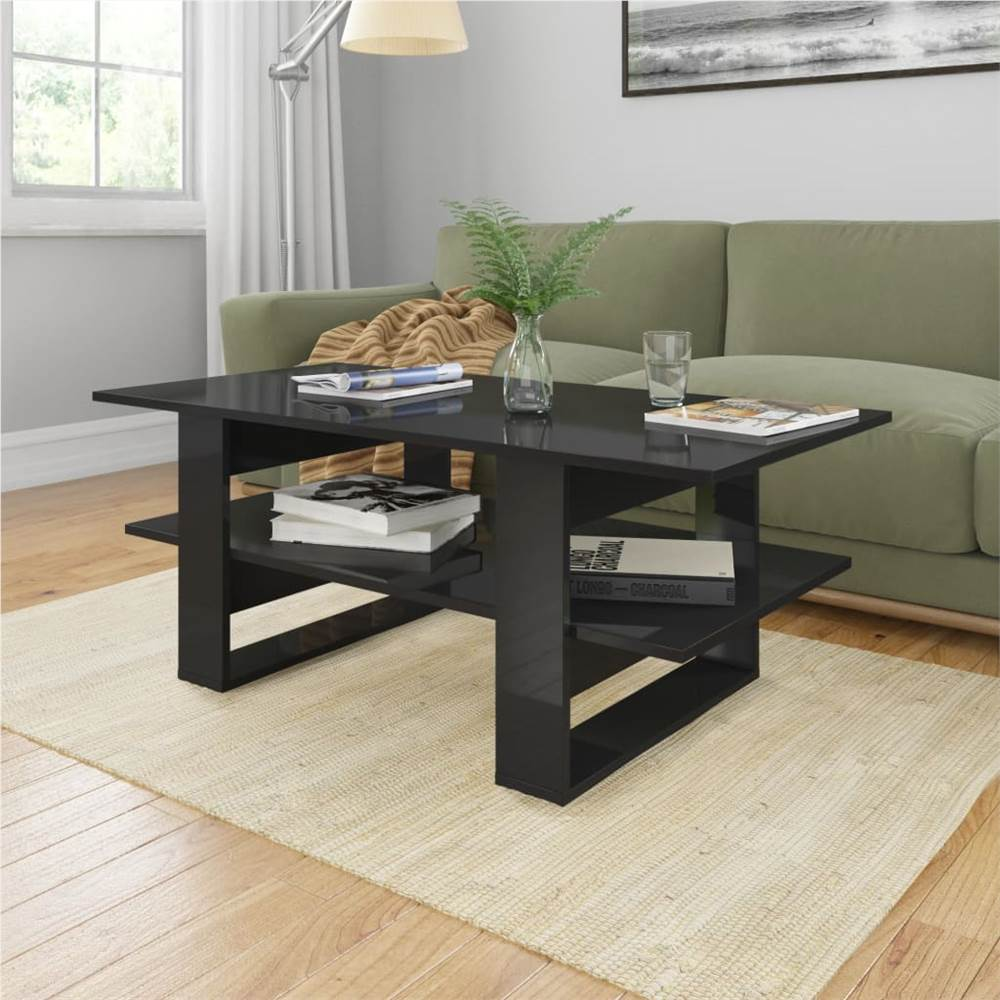 coffee table high gloss black 110x55x42 cm chipboard