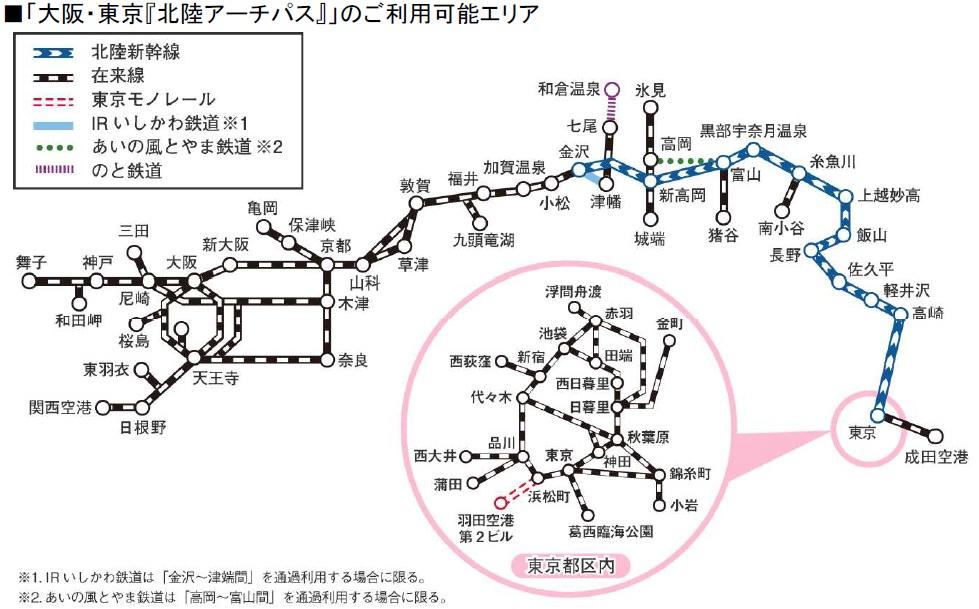[日本交通] 最新JR PASS 「北陸アーチパス(北陸拱門PASS)」,搭遍東京 京都 大阪、北陸、機場快線
